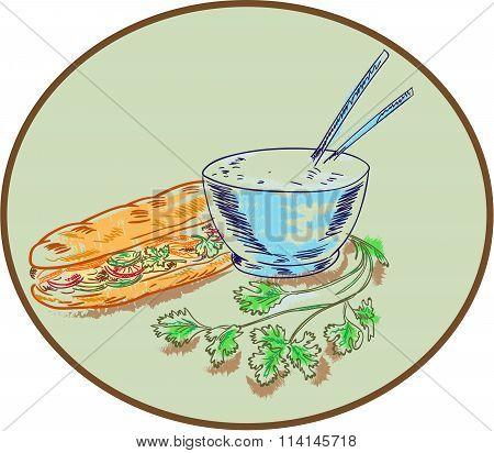 Bánh Mì Sandwich And Rice Bowl Drawing
