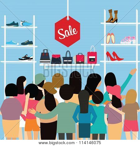 people crowd store sale discount shoe bag crowded shopping mall vector cartoon illustration