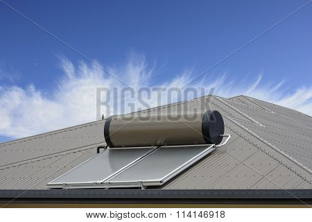 Solar Panel With Blue Sky And Clouds
