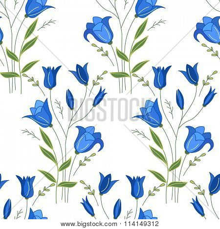 Seamless pattern with stylized cute bluebells.  Endless texture for your design, greeting cards, announcements, posters.