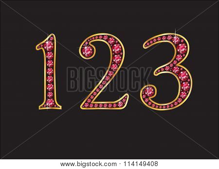123 Ruby Jeweled Font With Gold Channels
