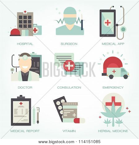 Hospital and medical flat icon set