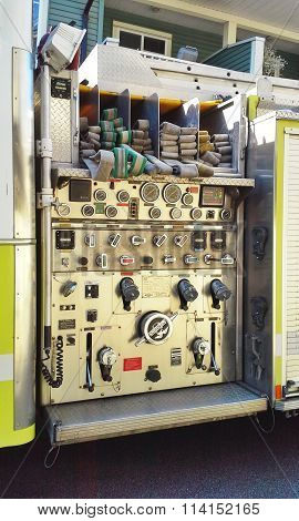 SURREY, BC, CANADA.  MARCH 16, 2015.  The control panel on a fire truck responding to a call.