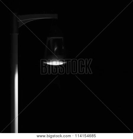 Bright Lit Outdoor Lantern Lamp Pole Post, Lonely Concept Solitude Metaphor, Illuminated Light