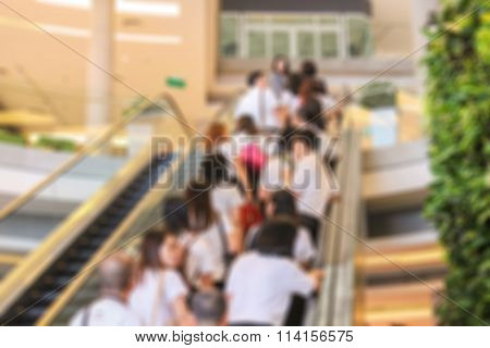 blur image of People were sliding up the stairs.
