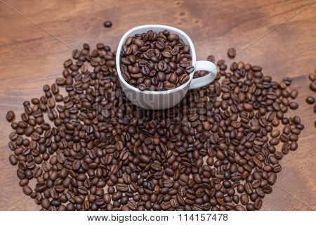 coffee beans white cup
