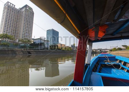 HO CHI MINH, VIETNAM - JAN 11, 2016: Views of the city from the Saigon River. Saigon River (the length of 256 kilometers) is most important to Ho Chi Minh City as it is the main water supply.