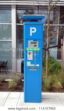 SURREY, BC, CANADA, MARCH 2015.  A new solar powered parking meter monitors on street parking in the city.