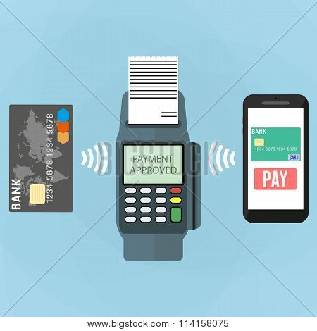 Nfc payment flat design style
