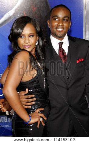 LOS ANGELES, CALIFORNIA - August 16, 2012. Nick Gordon and Bobbi Kristina Brown at the Los Angeles premiere of 'Sparkle' held at the Grauman's Chinese Theatre, Los Angeles.