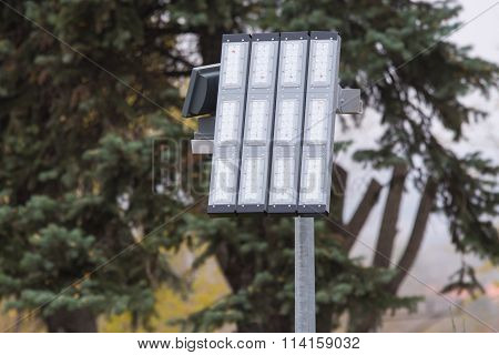 Led Lighting A Lantern On A Pole