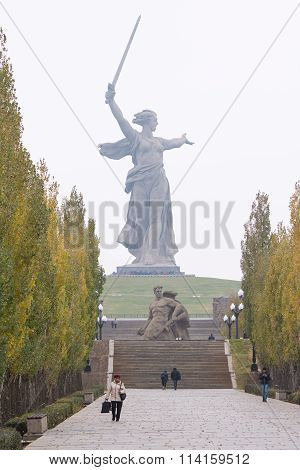 "View From The Avenue Of Poplars To The Main Monument ""motherland Calls"" Historical-memoria"