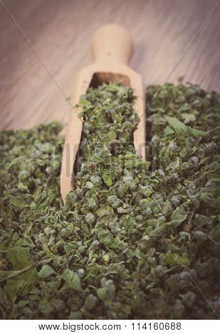 Vintage Photo, Dried Marjoram With Spoon On Wooden Background