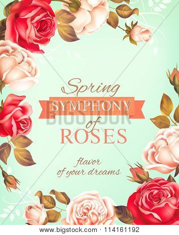 Romantic background with rose border. Vector illustration.