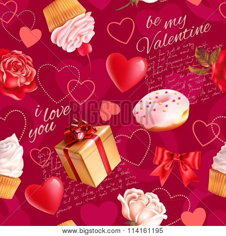 Seamless romantic pattern with roses, scripts, cakes and heart shapes. Vector illustration.