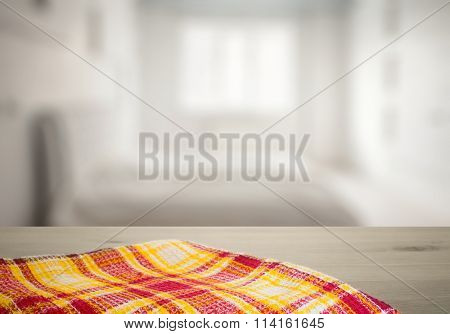 kitchen towel on old wooden desk in the bedroom