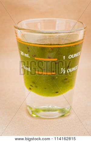 Glass Shot Of Kiwi Syrup