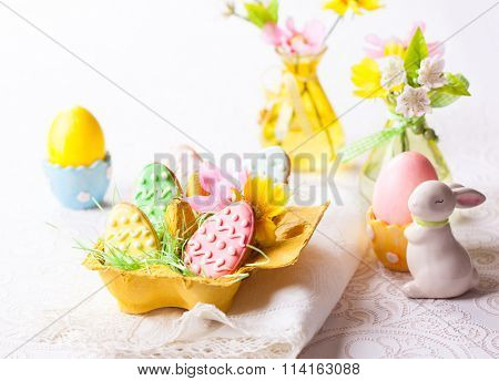 Easter homemade cookies decorated with icing