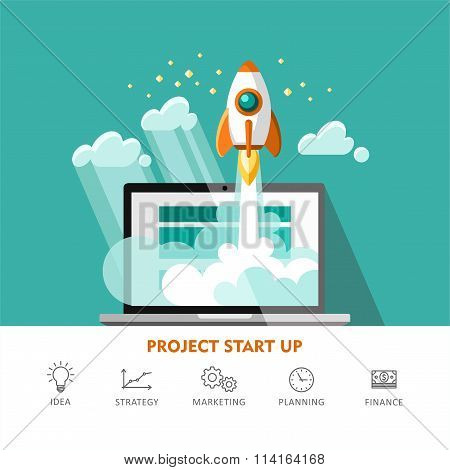 Rocket Ship Start Up Concept of New Business Project Start Up
