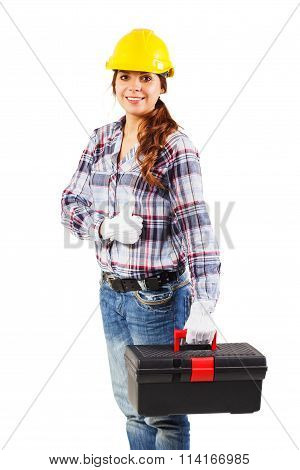 Young Smiling Worker In The Helmet Holds Tool Box