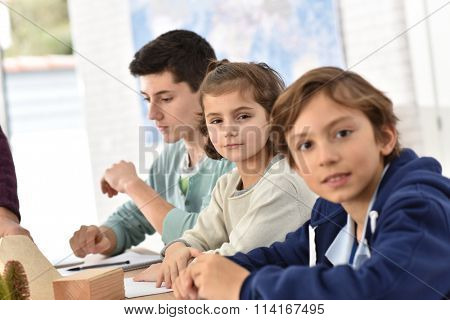 Portrait of 10-year-old school boy in class