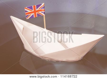 Paper Ship With Uk Flag Vintage