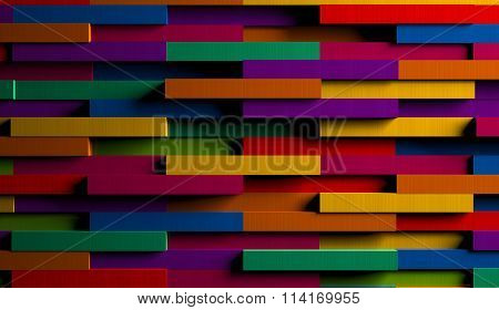 3D Bright Multicolored Striped Background