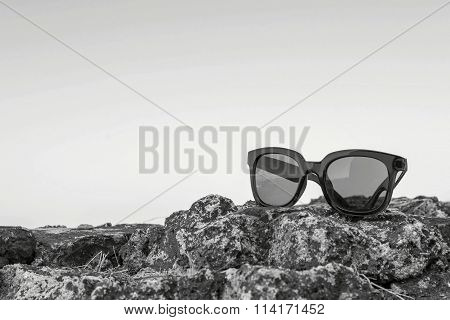 Modern Sunglasses From Monochrome Plastic Are Located Separately