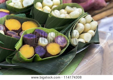 Taro And Yam In Banana Leave