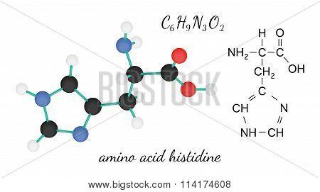C6H9N3O2 histidine amino acid molecule