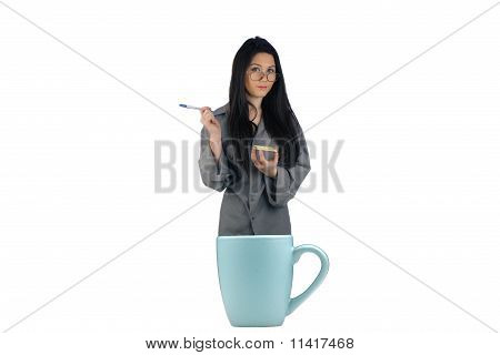 Beautiful Secretary In A Coffee Cup