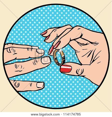 Wedding woman man gold ring betrothal