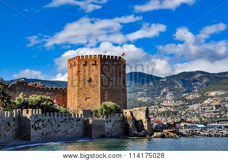 Red tower in Alanya on a beautiful day