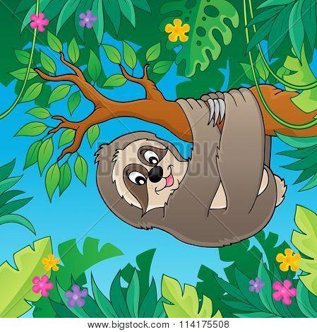 Sloth on branch theme image 2 - eps10 vector illustration.