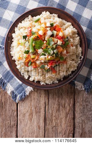 Asian Couscous With Vegetables. Vertical Top View