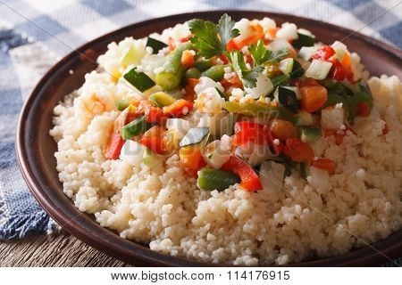 Couscous With Seasonal Vegetables Close-up. Horizontal