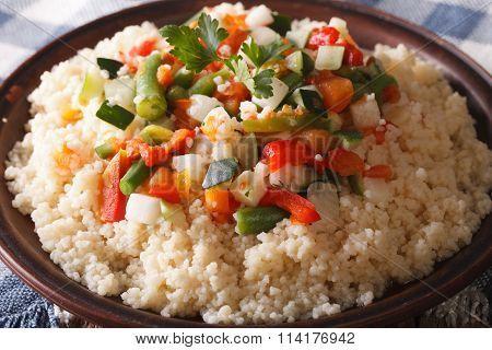 Couscous With Seasonal Vegetables Macro. Horizontal