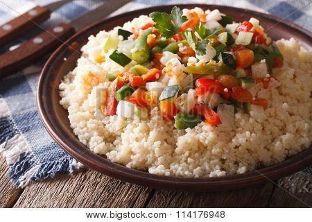 Arabic Cuisine: Couscous With Vegetables Close-up. Horizontal