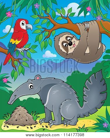 Animals in jungle topic image 1 - eps10 vector illustration.