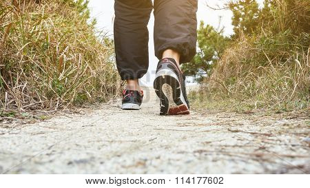 Man Walking On Trail Track Outdoor Jogging Exercise