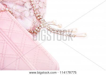 Pink Purse And Jewelry With Crystals