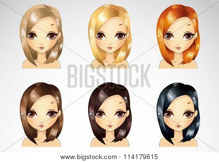 Set Of Glamur Straight Hairstyle