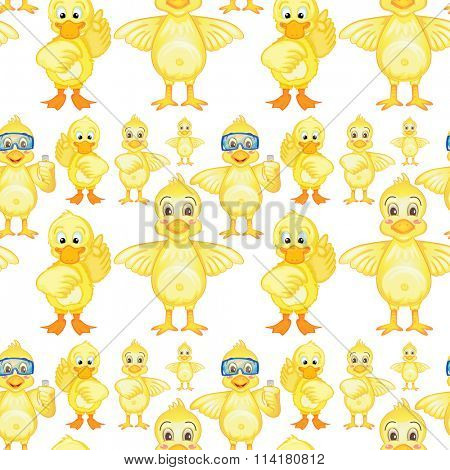 Seamless yellow ducklings in different posts illustration