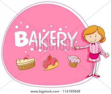 Banner design with baker and cake illustration