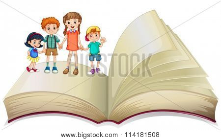 Children standing on big book illustration