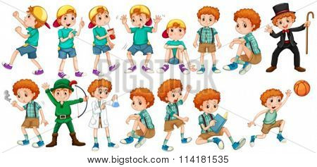 Boys doing different actions illustration
