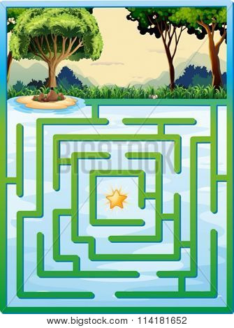 Maze game with nature background illustration
