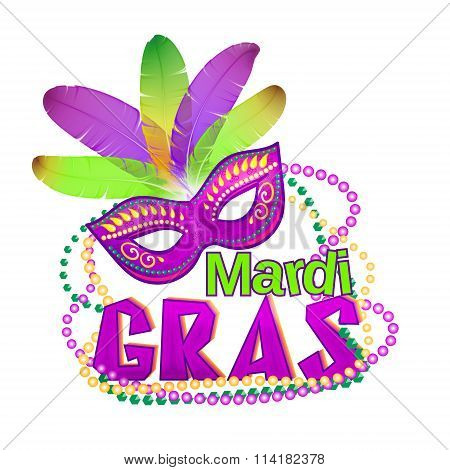Vector illustration of Mardi Gras or Shrove Tuesday lettering label on white background. Holiday poster or placard template. Mardi Gras design element. EPS 10 vector, grouped for easy editing.