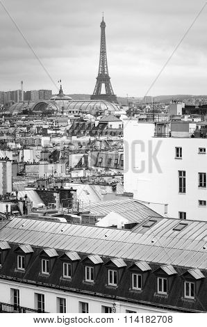 Eiffel Tower And Grand Palais With Rooftop Of Residential In Paris