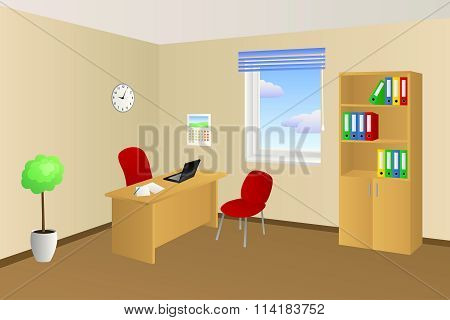 Office room beige table chair cabinet window illustration vector